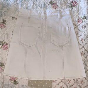 Skirts - White Short Button Down Pencil Skirt